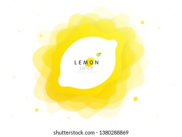 Lemon fruit of abstract shape liquid splash. Fresh juice and flat wave fluid citrus lemonade. Modern vector illustration design layout