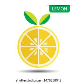 Lemon, fruit on white background. Flat design style. vector illustration.