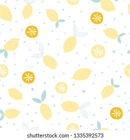 Lemon fruit with polka dots happy sommer design for home fabrics, textilies, bedding, fashion, wrapping paper, greeting cards, stationery products, wallpaper, book illustration, surface pattern