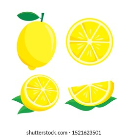 Lemon fruit vector illustration isolated on white background. Lemon clip art
