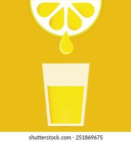 Lemon with glasses of lemonade or cocktail
