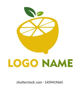 lemon half side nature with green leaf concept vector logo