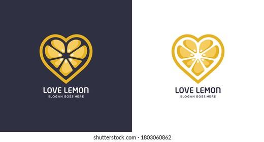 lemon heart logo vector designs