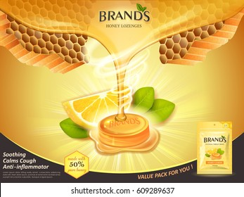 lemon honey flavor throat drops with leaves and honeycomb elements, golden background 3d illustration