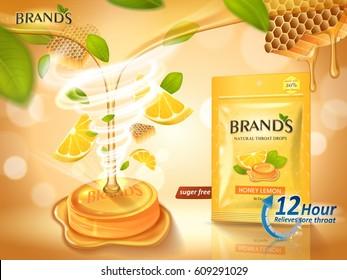 lemon honey flavor throat drops with leaves and honeycomb elements, orange background 3d illustration