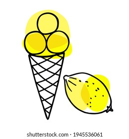 Lemon Ice Cream cone. Lemon fruit with ice cream ball in waffle cone. Hand drawn sketch with bright yellow backdrop. Citrus whole fruit and delicious frozen dessert. Vector Illustration.