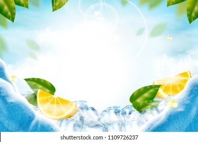 Lemon with ice cubes refreshing background in 3d illustration with green leaves
