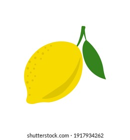 Lemon icon. Citrus fruit with leaf. Vector illustration.