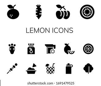 lemon icon set. 14 filled lemon icons. Included Tangerine, Radish, Plum, Kiwi, Vegetables, Guacamole, Vitamin c, Cocktail, Juice, Isotonic, Lemons, Lettuce icons
