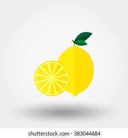 Lemon. Icon for web and mobile application. Vector illustration on a white background. Flat design style.