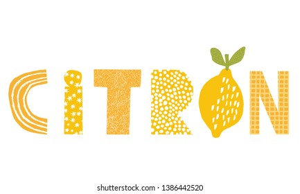 Lemon illustration and title with french text
