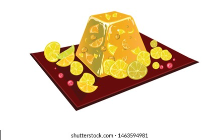 Сhic lemon jelly with lemon wedges.  On a white background. Isolated image. Vector graphics.