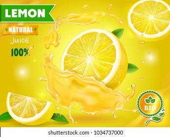 Lemon juice advertising Citrus with realistic fresh fruit. Vector ads design packaging