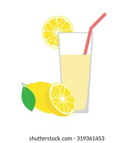Lemon juice in a glass.