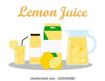 Lemon Juice with pack template packaging design - vector illustration