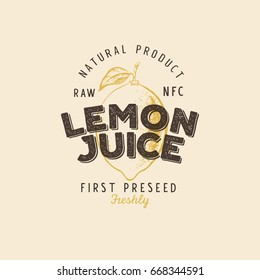 Lemon juice retro vintage textured logotype, badge, label. Vector illustration