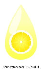 Lemon juice splashing drop vector background concept