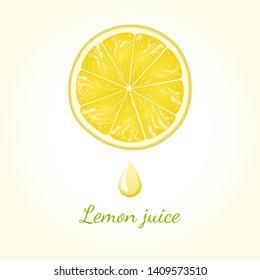 Lemon juice vector illustration. Citrus slice with fresh juice drop
