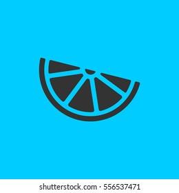 Lemon, lime - food icon flat. Simple vector black pictogram on blue background