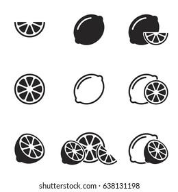 Lemon, lime icons set, vector