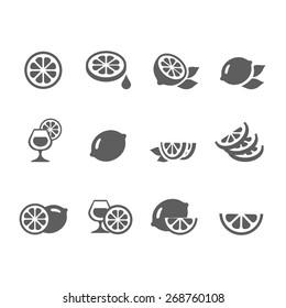 Lemon  lime icons vector set