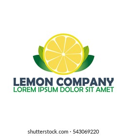 Lemon logo company. Citrus. Vector logo illustration