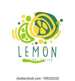 Lemon logo template original design, colorful hand drawn vector Illustration