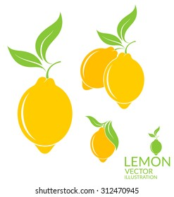 Lemon. Logo. Tropical lemons with leaves on white background. Vector illustration EPS10