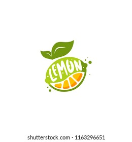 Lemon logo vector. Fresh fruit logo vector. Lemon logo template