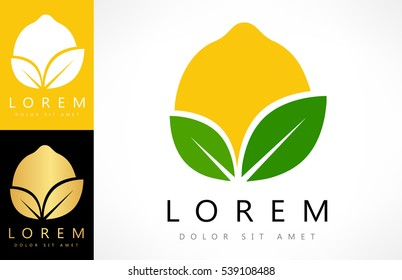 Lemon logo vector. Fruit design.