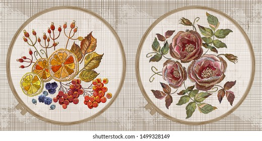 Lemon, mountain ash berries, cinnamon, carnation and roses flowers. Embroidery collection. Template tambour frame with a canvas, elements from stitches. Art for clothes