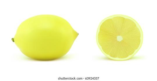 A lemon on a white background