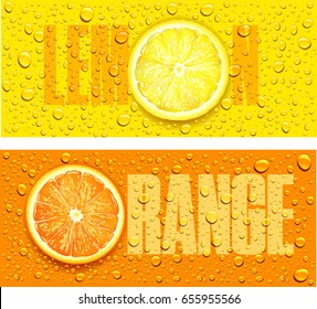 lemon and orange juice background with water drops