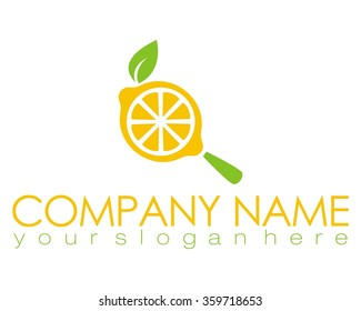 lemon orange search fresh logo icon vector