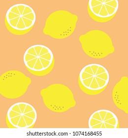 Lemon pattern print. Vector yellow lemon pattern