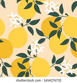 Lemon pattern. Vector seamless texture.