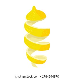 Lemon peel vector icon.Cartoon vector icon isolated on white background lemon peel.