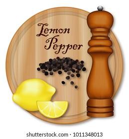 Lemon Pepper, classic seasoning made from lemon zest and cracked peppercorns. Lemon wedge, black peppercorns, dark wood pepper mill, wood cutting board, isolated on white background.