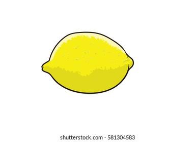Lemon, pop art, cartoon hand drawn illustration isolated on white background