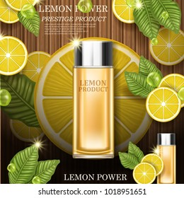 Lemon power. Quality illustration with cosmetic bottle, leaves and fruits on wooden background