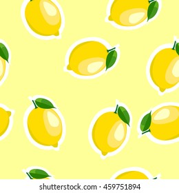 Lemon same sizes sticker yellow background. Pattern with lemon and leaves.