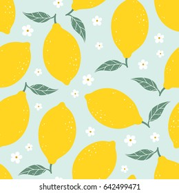 Lemon seamless pattern with flowers on light blue background. Vector illustration