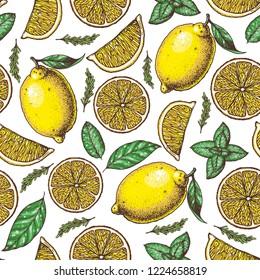 Lemon seamless pattern. Fresh citrus background. Hand drawn vector illustration. Organic food, citrus design template. Colored illustration.