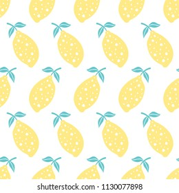 Lemon seamless pattern. Hand drawn summer fresh repeat background for textile and wrapping design. Vector illustration.