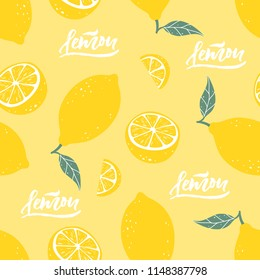 Lemon seamless pattern with lettering on yellow background. Vector illustration