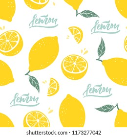 Lemon seamless pattern with lettering on white background. Vector illustration.