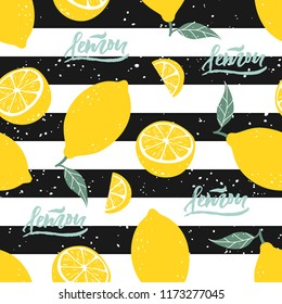 Lemon seamless pattern with lettering on black and white stripes. Vector illustration.