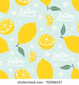 Lemon seamless pattern with lettering on blue background. Vector illustration