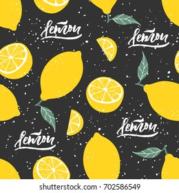 Lemon seamless pattern with lettering on black background. Vector illustration