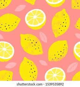 Lemon seamless pattern. Trendy summer background. Vector bright print for fabric or wallpaper.